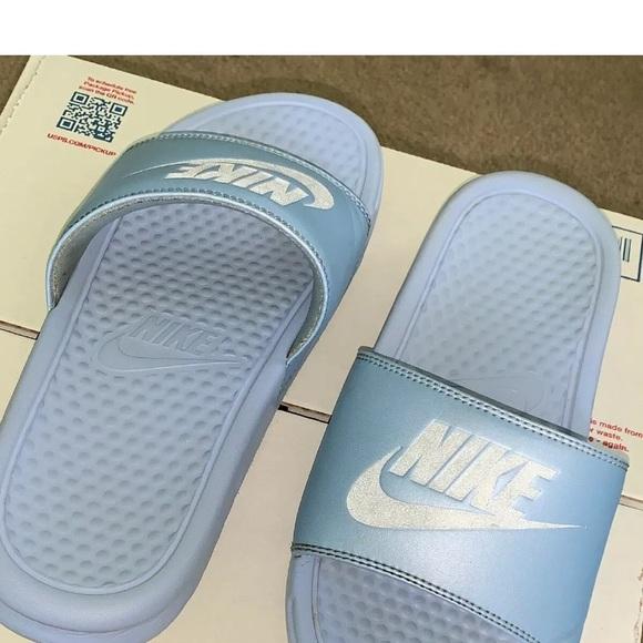 perder otro declarar  Nike Shoes | Nike Benassi Jdi Slide Sandal Blue Metallic Silver | Poshmark